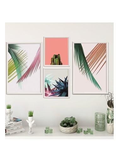 Lyn Home & Decor Renkli Dallar Çerçeveli Poster 4 Lü Tablo 2 Adet 23,5X33,5 2 Adet 17,5X23,5 Beyaz